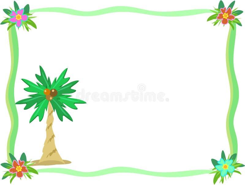Quadro da flor da palmeira e do hibiscus ilustração royalty free