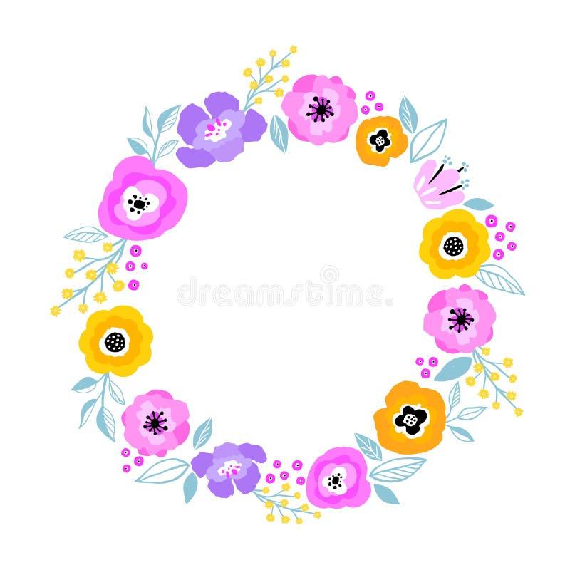 Quadro da flor do vetor Grinalda bonita Folhas e flores elegantes, projeto digital tirado mão Projeto para o convite ilustração stock