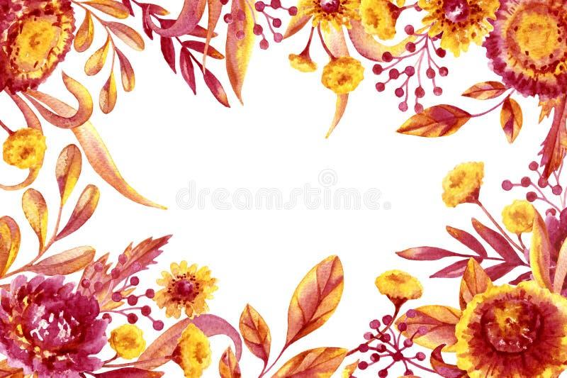 Quadro da folhagem de outono e das flores ilustração stock