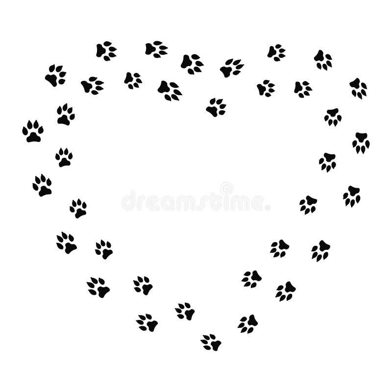 Quadro da forma do coração com a trilha do cão preto isolada no fundo branco Silhueta animal da pegada ilustração do vetor