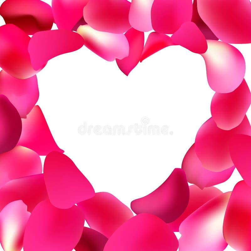 Quadro da forma do coração feito com as pétalas cor-de-rosa cor-de-rosa O molde do cartão para o dia de Valentim, o dia de mãe ilustração royalty free