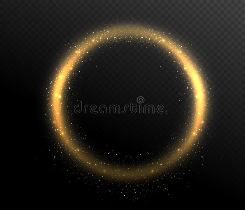 Quadro da forma redonda do círculo do brilho da faísca Poeira do fulgor no ar ilustração stock