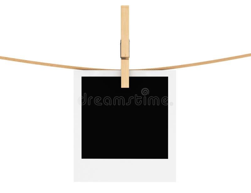 Quadro da foto com clothespin ilustração royalty free