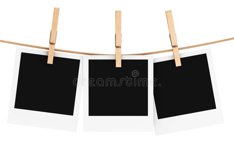 Quadro da foto com clothespin ilustração do vetor
