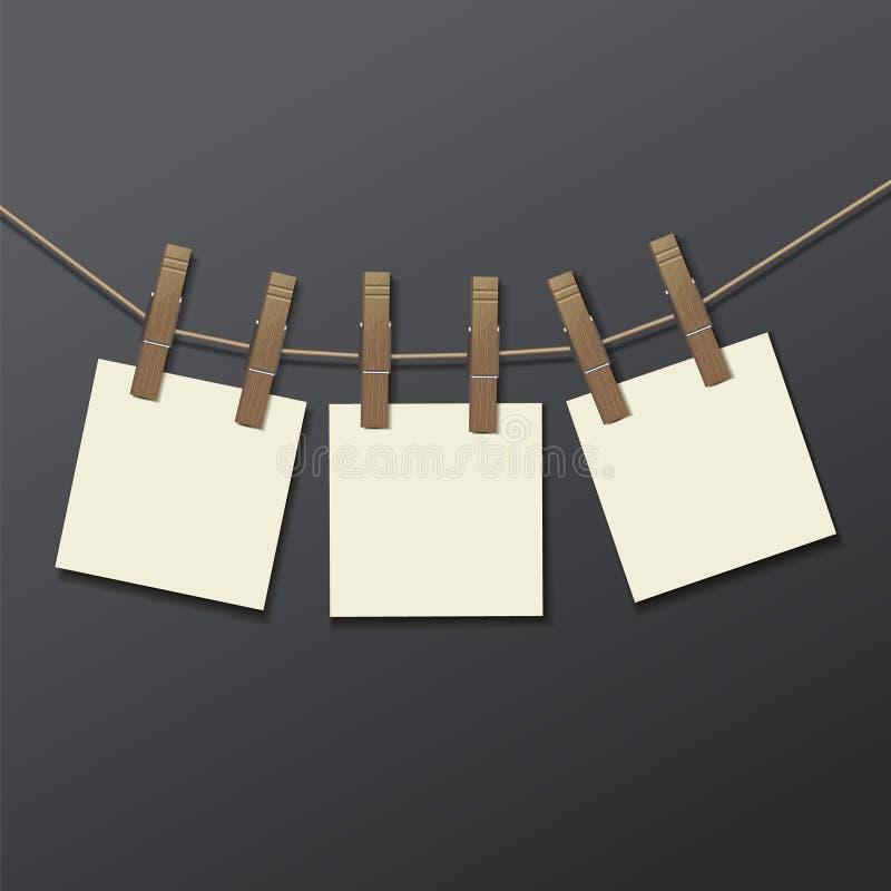 Quadro da foto com clothespin realístico ilustração royalty free