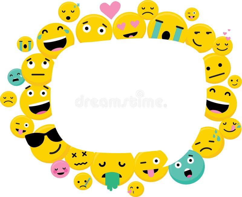 Quadro da foto com Emoji engraçado Espaço vazio vazio para o texto Ajuste de Emoji com emoção-vetor diferente ilustração do vetor