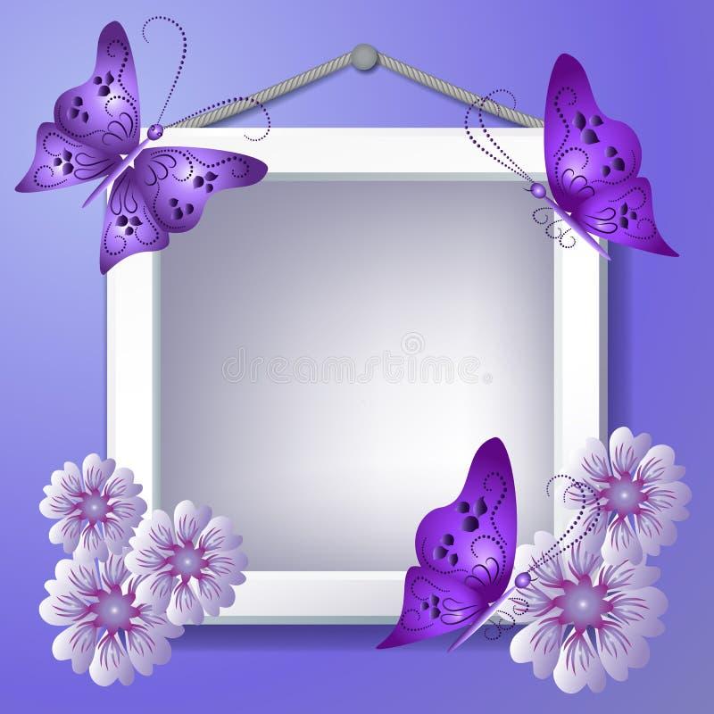Quadro da foto com flores e borboletas ilustração stock