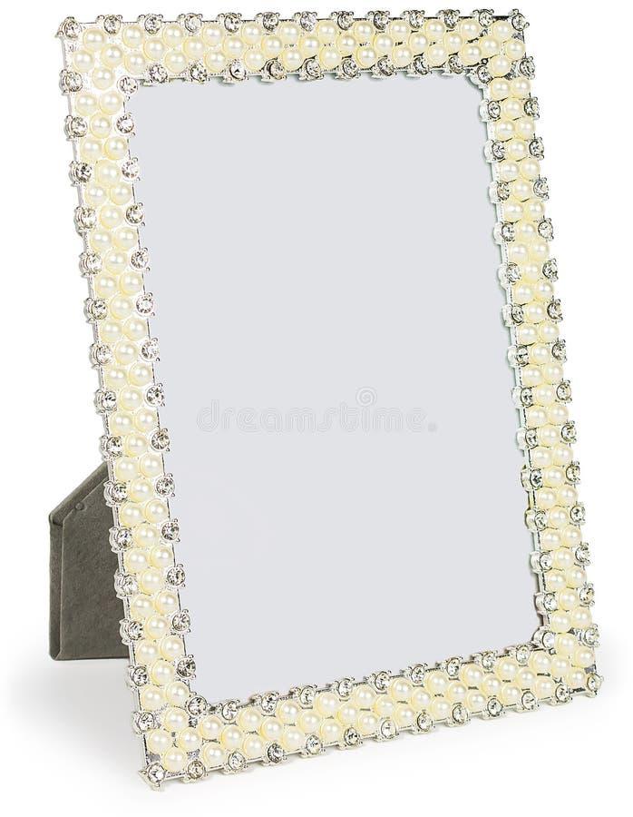 Quadro da foto do metal embutido com os cristais de rocha imagens de stock