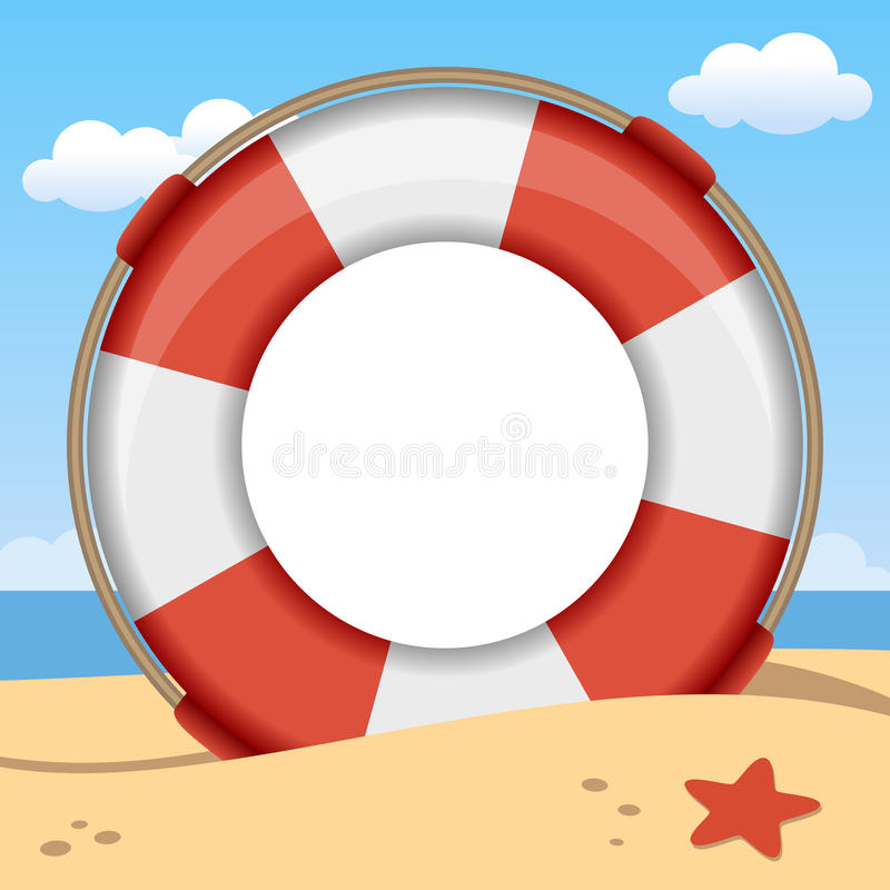 Quadro da foto do verão do boia salva-vidas ilustração do vetor