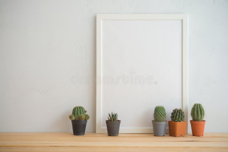 Quadro da foto e modelo dos potenciômetros do cacto com fundo branco da parede, c imagem de stock