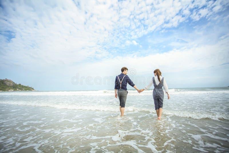 quadro da foto no hin de hua do mar em Tailândia imagens de stock