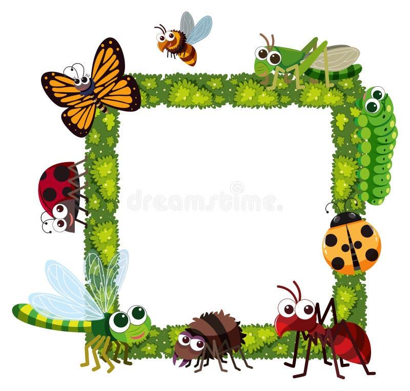 Quadro da grama com muitos insetos ilustração stock