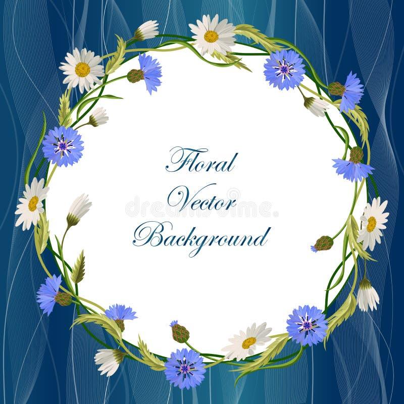 Quadro da grinalda com flores selvagens ilustração stock