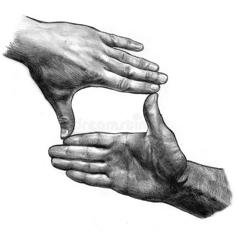 Quadro da mão ilustração stock