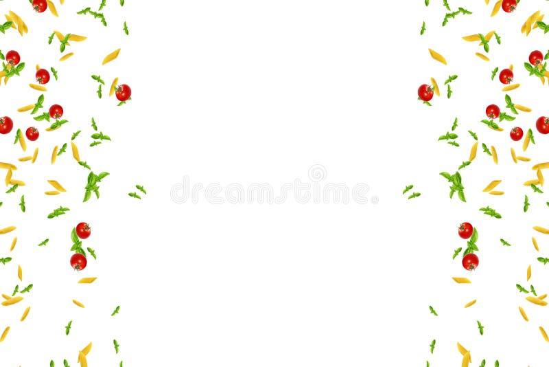 Quadro da massa italiana, o tomate e a manjericão caindo para baixo no fundo branco, dieta mediterrânea e conceito da nutrição ilustração do vetor
