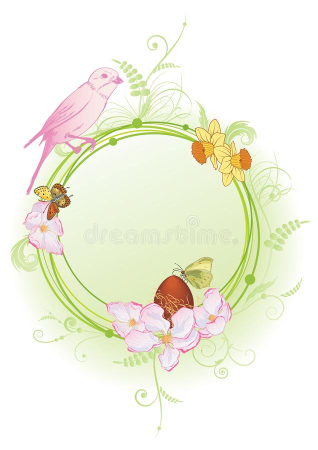 Quadro da mola com pássaro, flores e borboletas ilustração stock