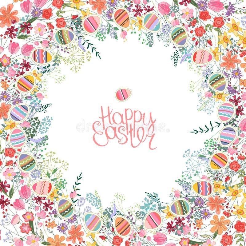 Quadro da Páscoa com flores e ovos do contorno ilustração stock