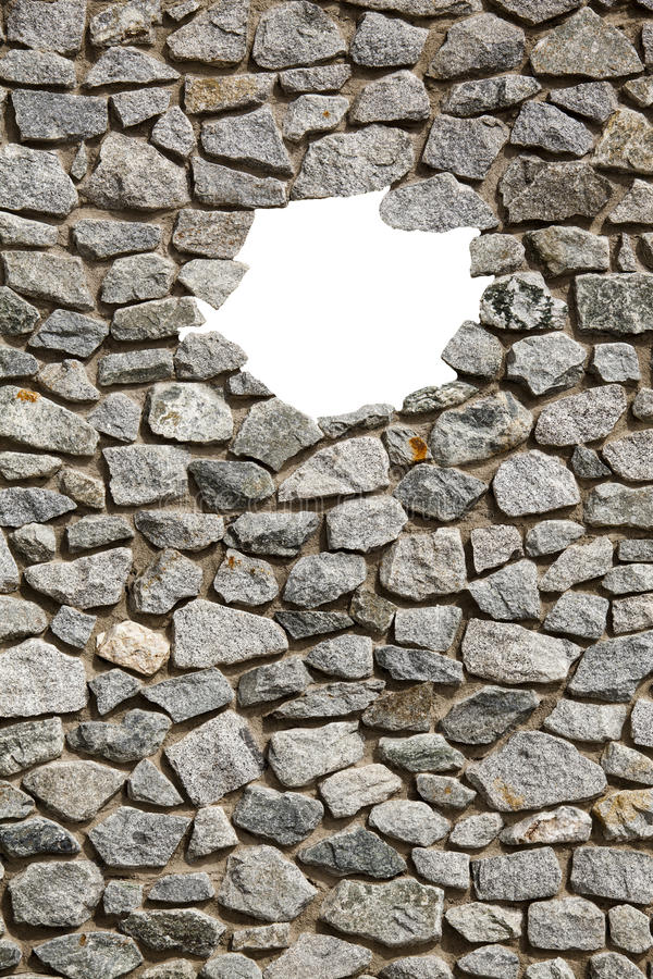 Quadro da parede de pedra com furo pequeno vazio foto de stock