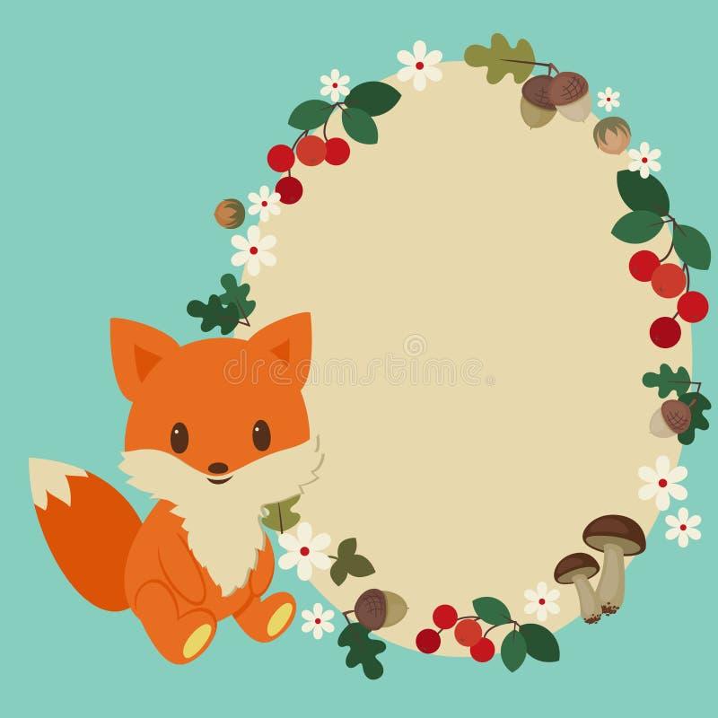 Quadro da raposa do bebê ilustração do vetor