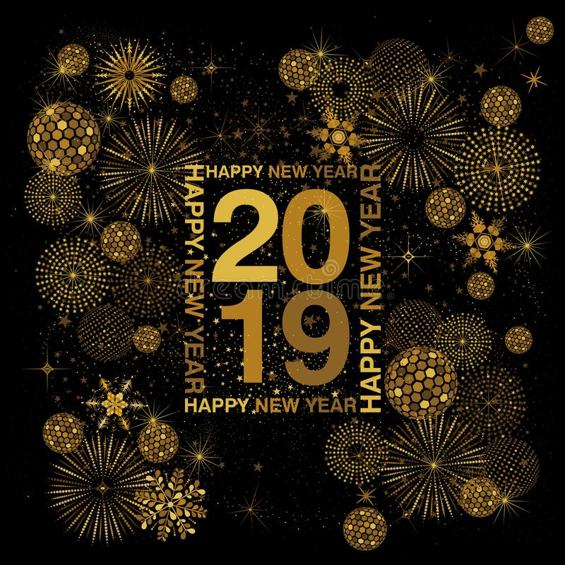 Quadro da tipografia do retângulo com o ano novo feliz que rotula por volta de 2019 numerais no ouro em um fundo preto ilustração royalty free