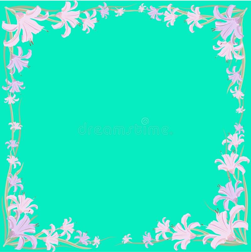 Quadro das flores e das folhas dos lírios Ilustração do vetor ilustração do vetor