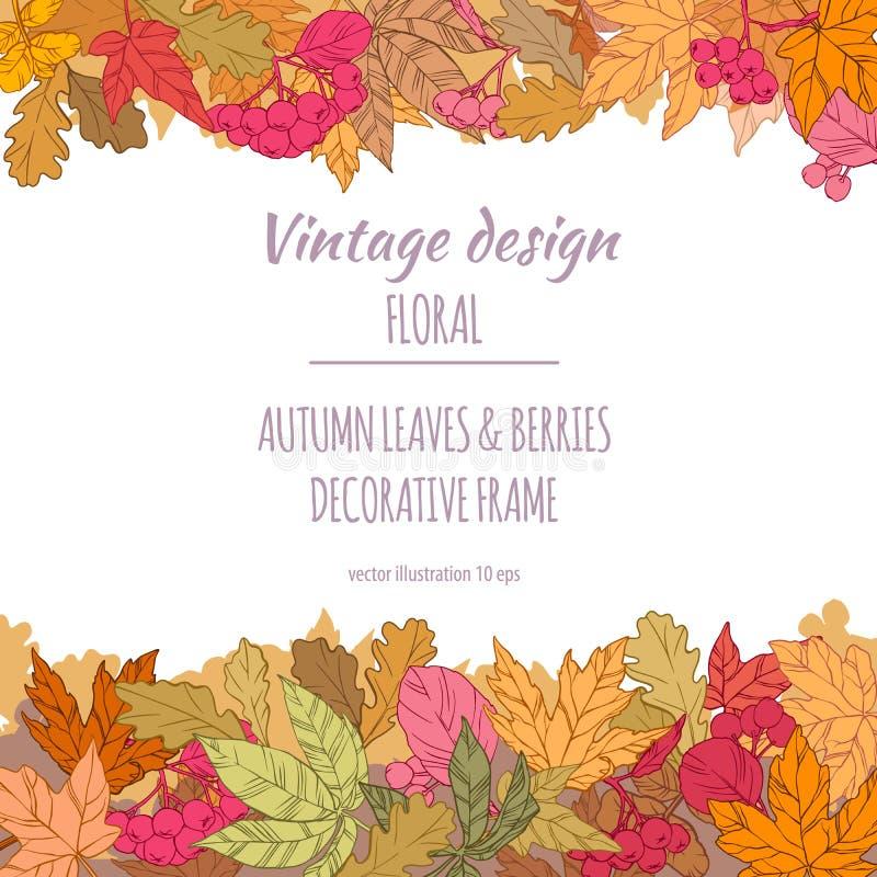 Quadro das folhas e das bagas de outono foto de stock
