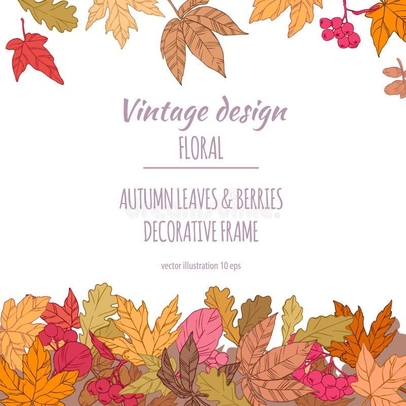 Quadro das folhas e das bagas de outono fotografia de stock