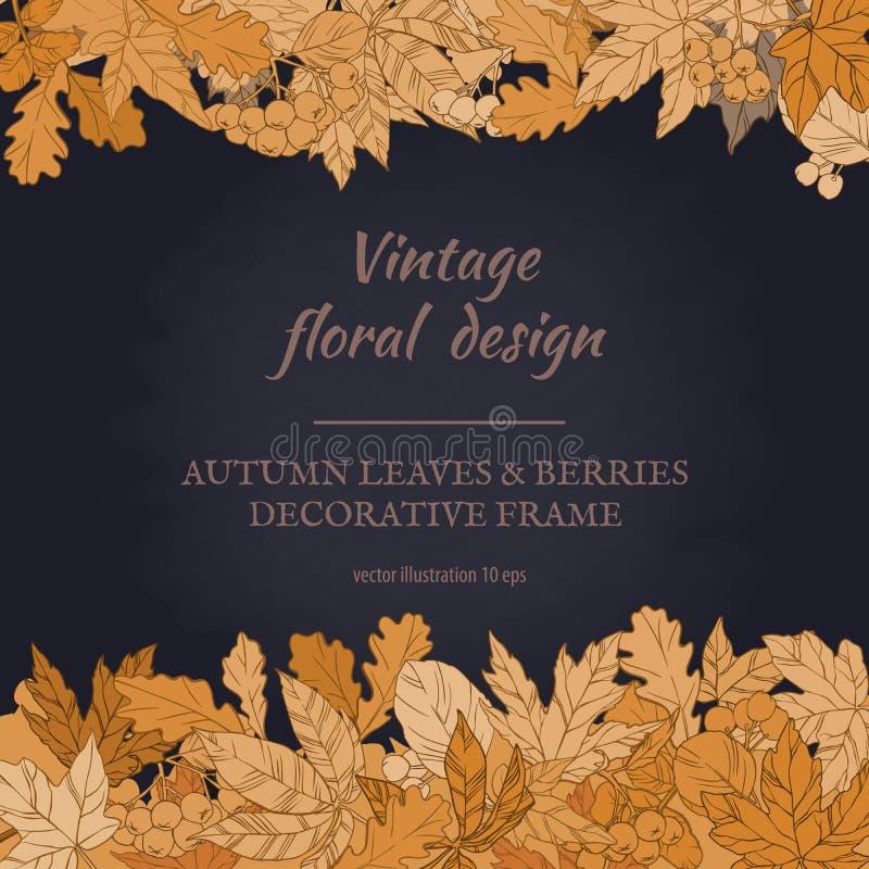 Quadro das folhas e das bagas de outono fotos de stock