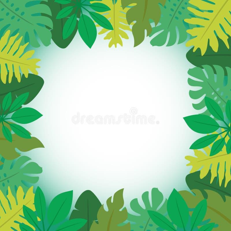 Quadro 3 das folhas tropicais ilustração do vetor