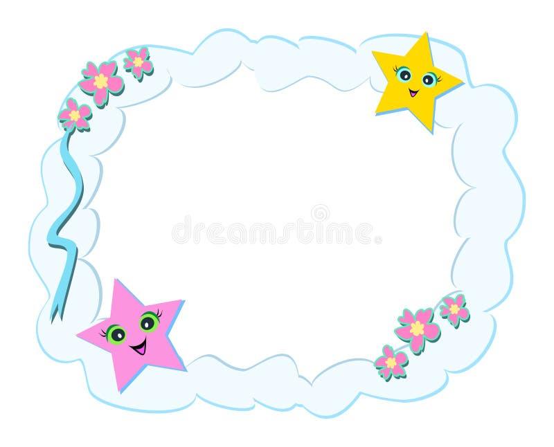 Quadro das nuvens, das estrelas, e das flores ilustração stock