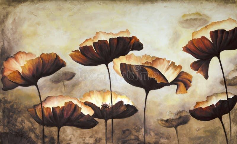 Quadro das papoilas pintados à mão na lona branca fotografia de stock royalty free