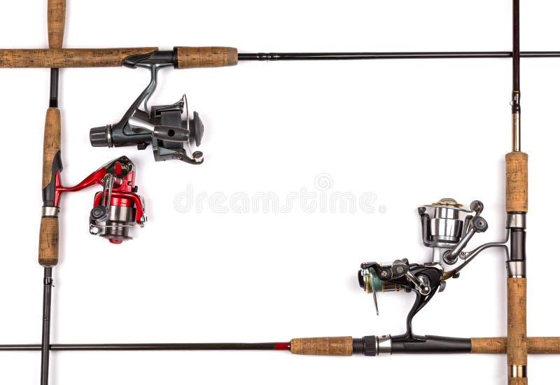 Quadro das varas de pesca e dos carretéis foto de stock royalty free