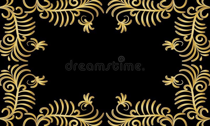 Quadro de arbustos dourados em um fundo preto ilustração do vetor
