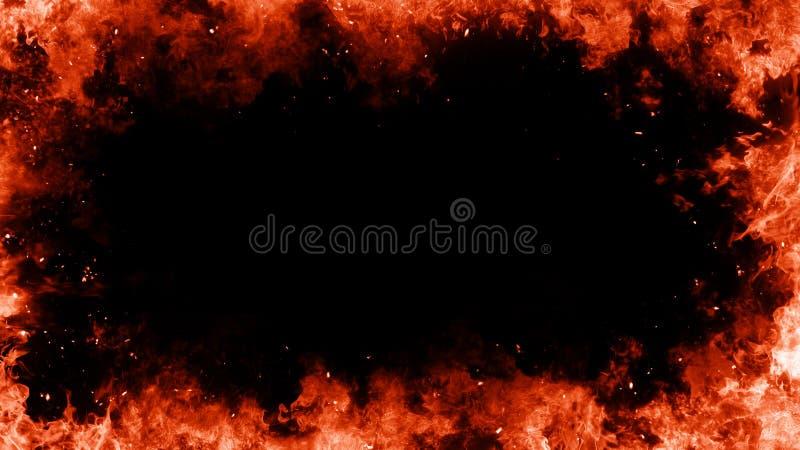 Quadro de ardência das chamas sobre o fundo isolado preto ilustração do vetor