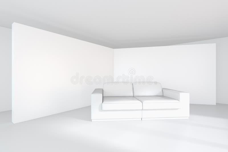 Quadro de avisos branco da lona vazia na sala e no sofá moderno rendição 3d ilustração stock