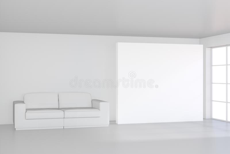 Quadro de avisos branco da lona vazia na sala e no sofá moderno rendição 3d ilustração royalty free