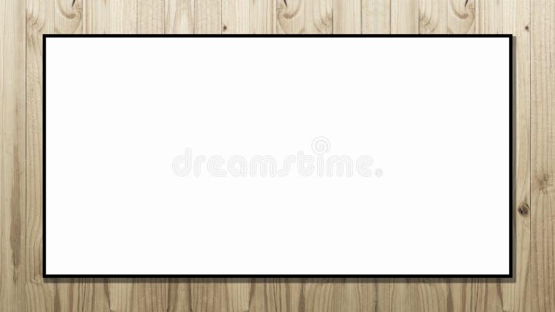 Quadro de avisos branco do espaço vazio no fundo de madeira imagem de stock
