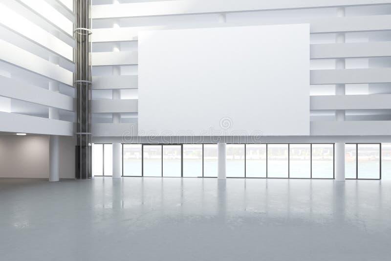 Quadro de avisos branco vazio no salão da construção vazia com concret ilustração do vetor