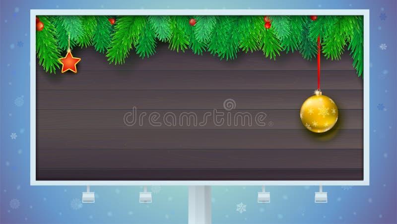 Quadro de avisos com a bandeira do Natal com ramos do abeto e as bagas vermelhas Atmosfera festiva Molde pelo ano novo ou ilustração do vetor