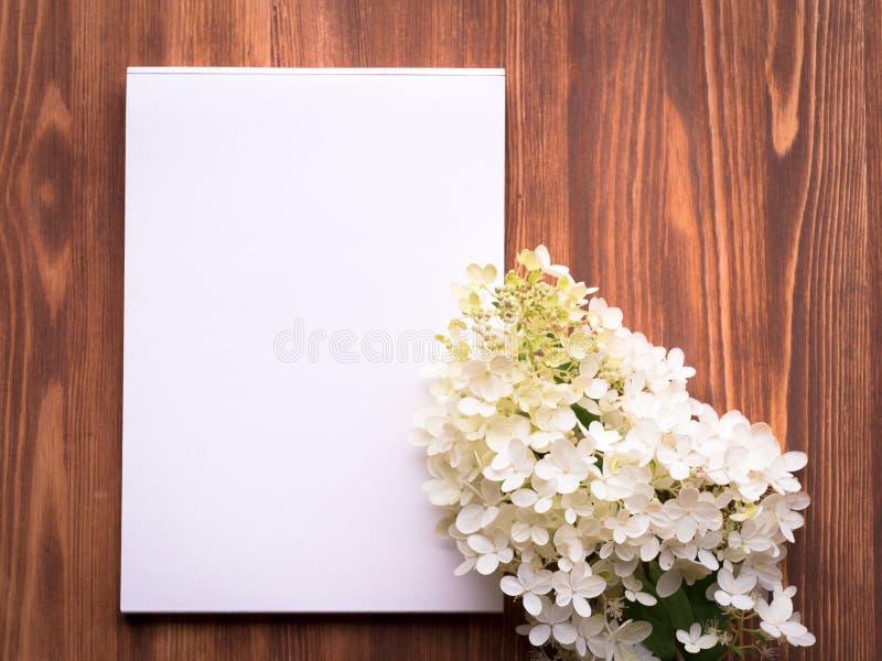 Quadro de avisos com a folha vazia para notas e o fundo de madeira da placa do sumário do hydrangeain da flor branca fotos de stock