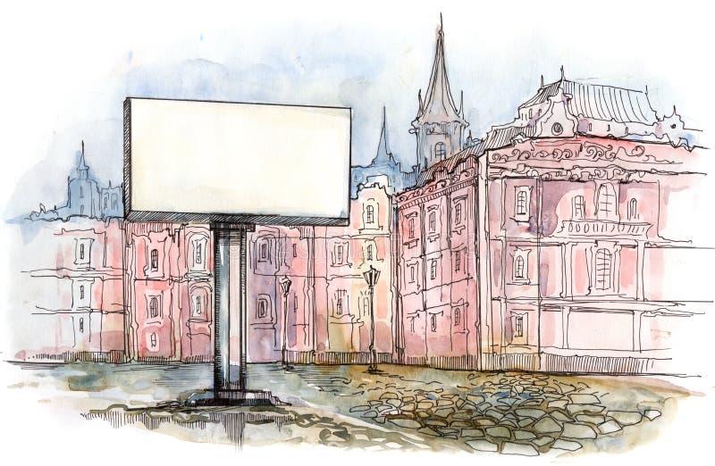 Quadro de avisos da cidade ilustração royalty free