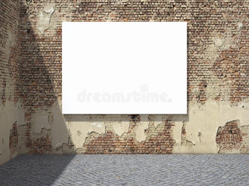 Quadro de avisos de anúncio em branco na parede ilustração do vetor