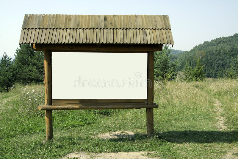Quadro de avisos de madeira vazio fotografia de stock