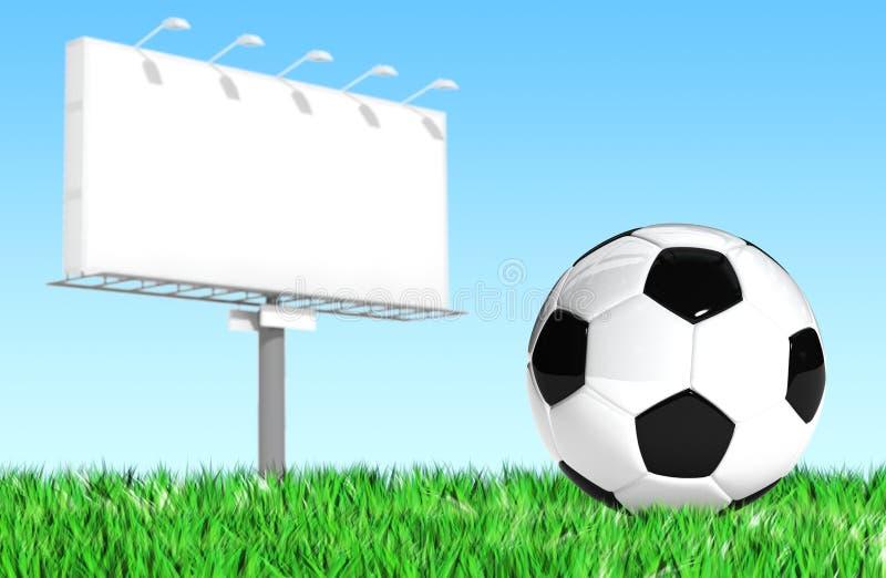 Quadro de avisos de propaganda com bola de futebol ilustração royalty free