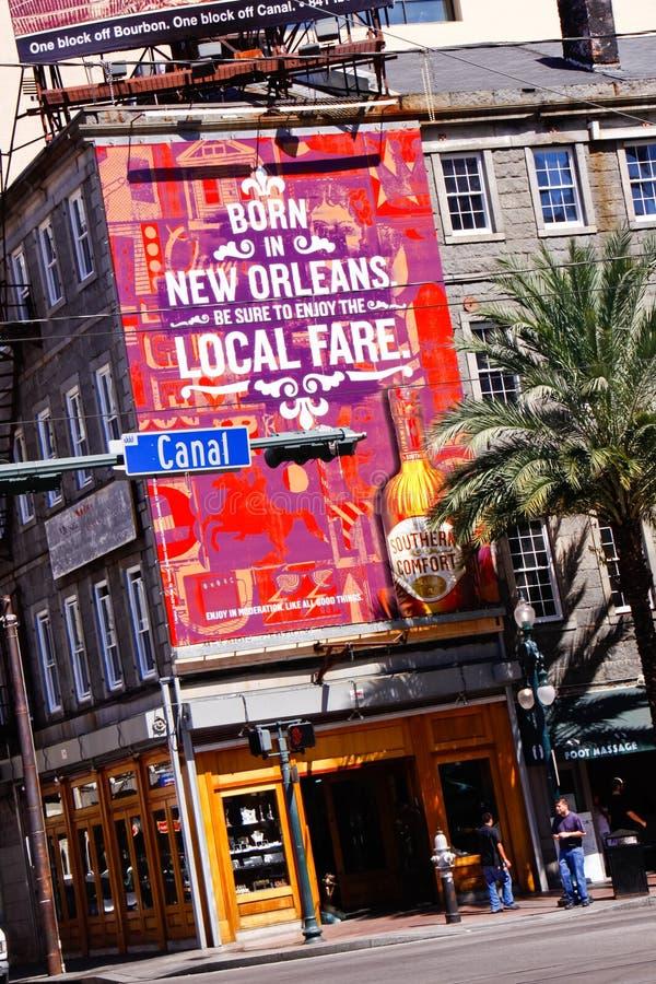 Quadro de avisos do Canal Street de Nova Orleães fotos de stock