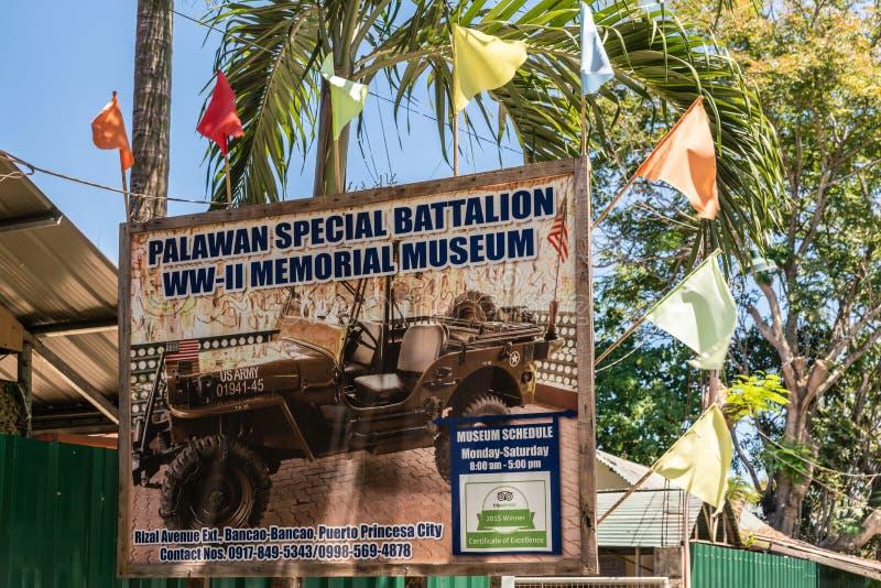 Quadro de avisos do museu especial do batalhão WW II de Palawan em Puerto Princesa, Palawan, Filipinas imagem de stock