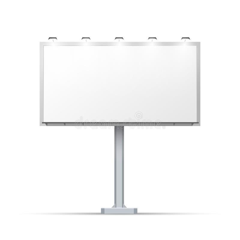 Quadro de avisos exterior branco com lugar para anunciar no branco ilustração stock