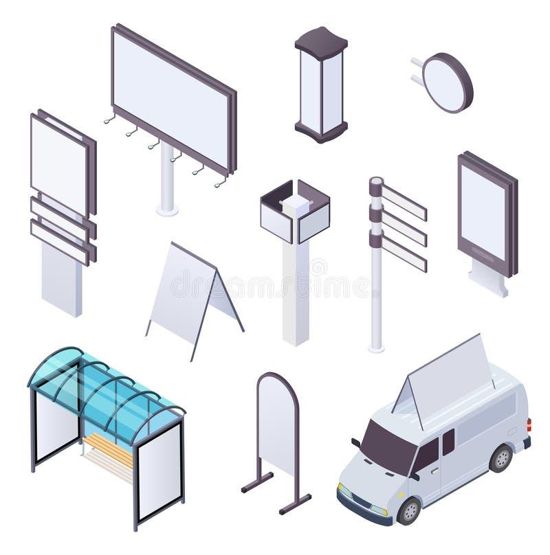 Quadro de avisos isométrico Anunciando o signage exterior 3d da rua da bandeira da propaganda do cartaz dos quadros de avisos do  ilustração do vetor