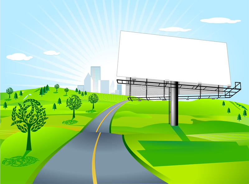 Quadro de avisos na estrada ilustração royalty free