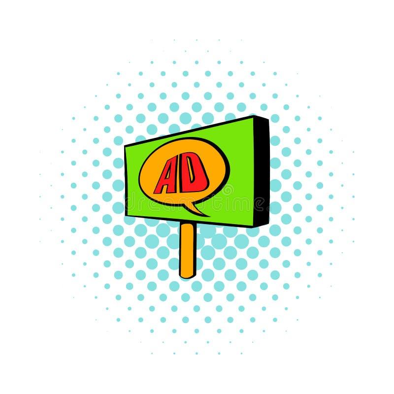 Quadro de avisos para anunciar o ícone, estilo da banda desenhada ilustração stock